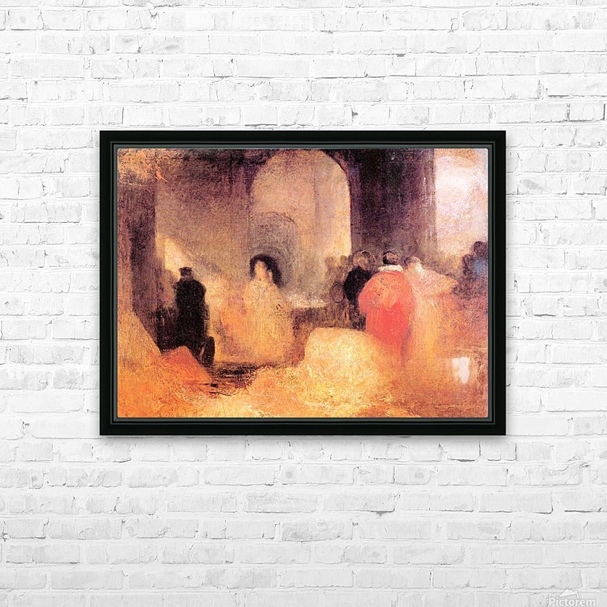 A dinner in a large room with people in costumes by Joseph Mallord Turner HD Sublimation Metal print with Decorating Float Frame (BOX)