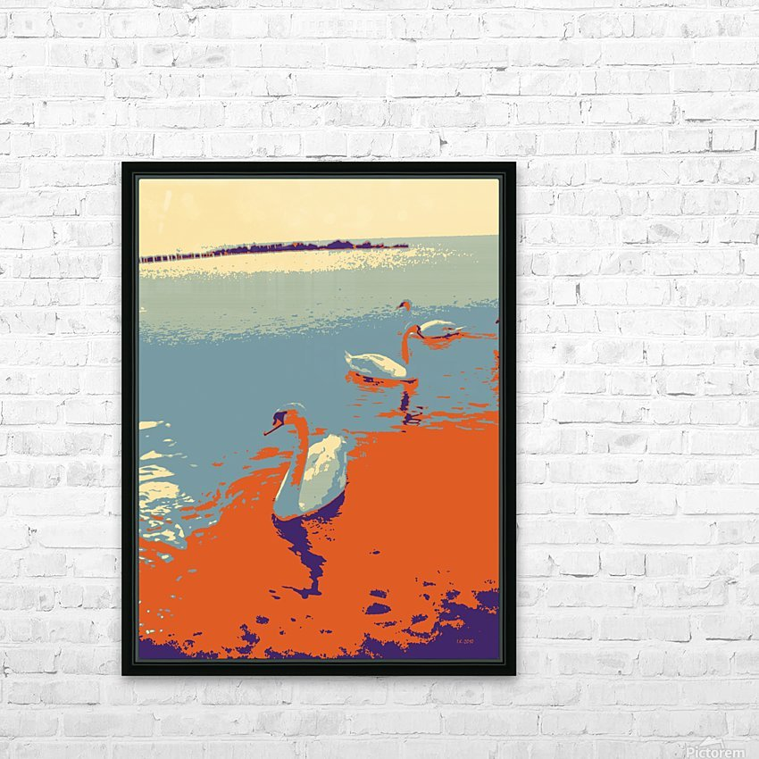 Swans HD Sublimation Metal print with Decorating Float Frame (BOX)