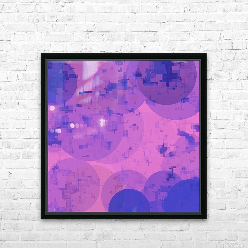 geometric circle and square pattern abstract in pink purple HD Sublimation Metal print with Decorating Float Frame (BOX)
