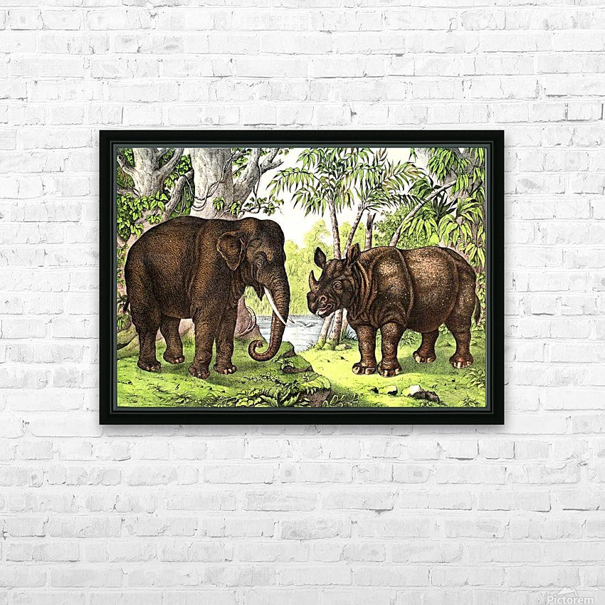 Elephant And Rhinoceros HD Sublimation Metal print with Decorating Float Frame (BOX)