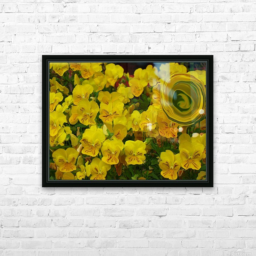 Yellow Abstract Floral Art HD Sublimation Metal print with Decorating Float Frame (BOX)