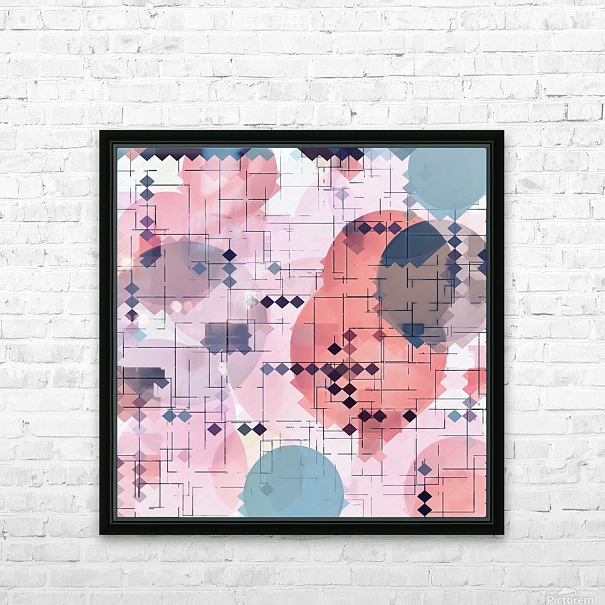 geometric square pixel pattern abstract with circle pattern background in red pink blue HD Sublimation Metal print with Decorating Float Frame (BOX)