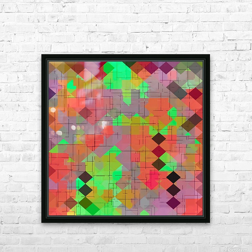 geometric square pixel pattern abstract in green orange red HD Sublimation Metal print with Decorating Float Frame (BOX)