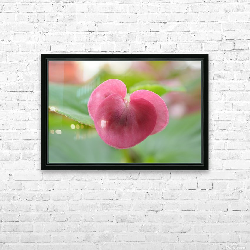 Heart Shape Pink Flower Photograph HD Sublimation Metal print with Decorating Float Frame (BOX)
