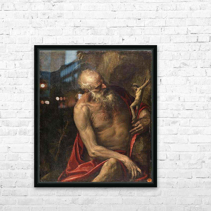 Saint Jerome meditating HD Sublimation Metal print with Decorating Float Frame (BOX)
