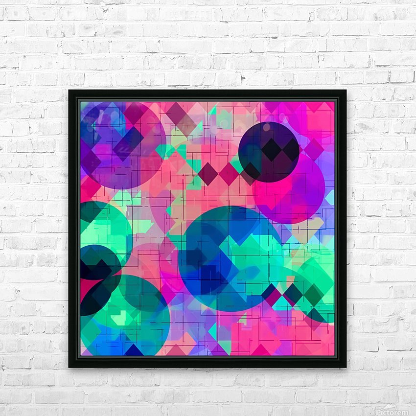 geometric square pixel and circle pattern abstract in pink blue green HD Sublimation Metal print with Decorating Float Frame (BOX)