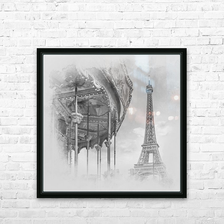 Typical Paris   monochrome watercolor HD Sublimation Metal print with Decorating Float Frame (BOX)