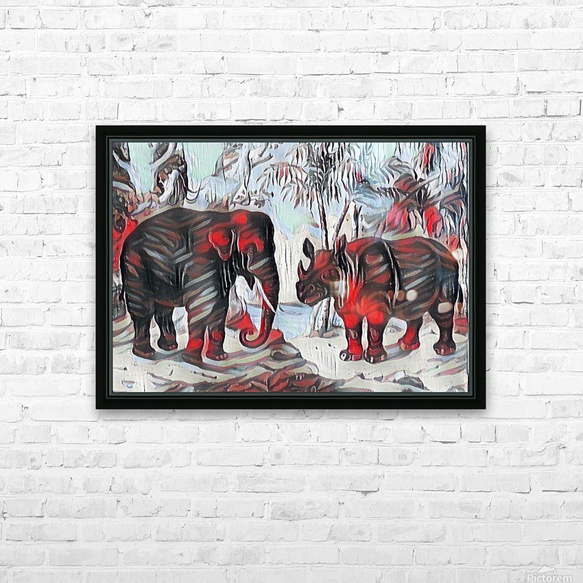 Elephant And Rhinoceros_On A Cold Rain_OSG HD Sublimation Metal print with Decorating Float Frame (BOX)
