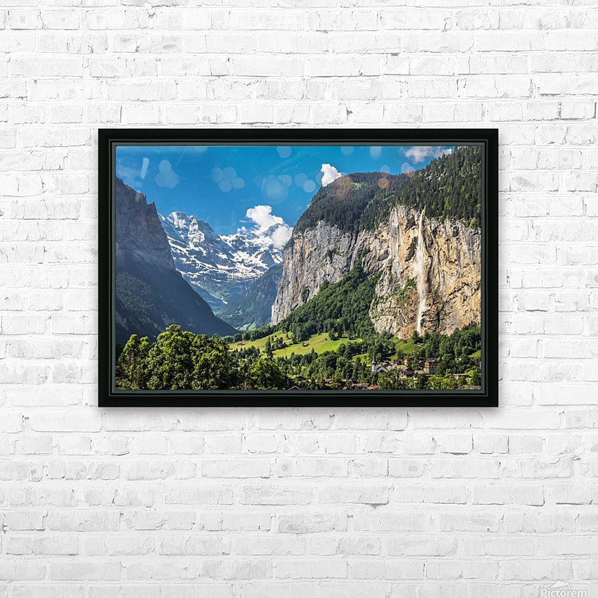 Valley of Waterfalls HD Sublimation Metal print with Decorating Float Frame (BOX)