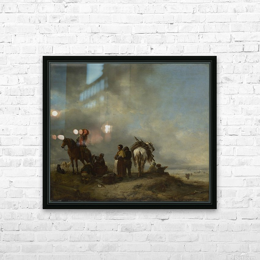 A View on a Seashore with Fishwives offering Fish to a Horseman HD Sublimation Metal print with Decorating Float Frame (BOX)