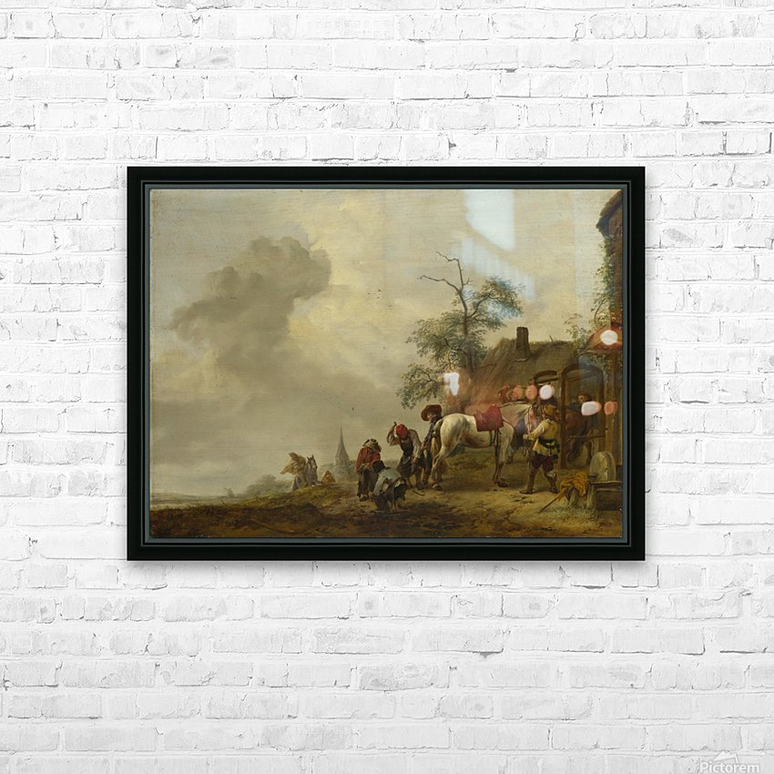 A Horse being Shod outside a Village Smithy HD Sublimation Metal print with Decorating Float Frame (BOX)