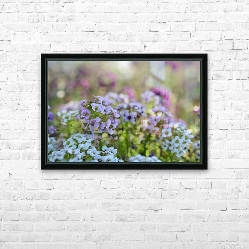 Small Purple Flowers Photograph HD Sublimation Metal print with Decorating Float Frame (BOX)