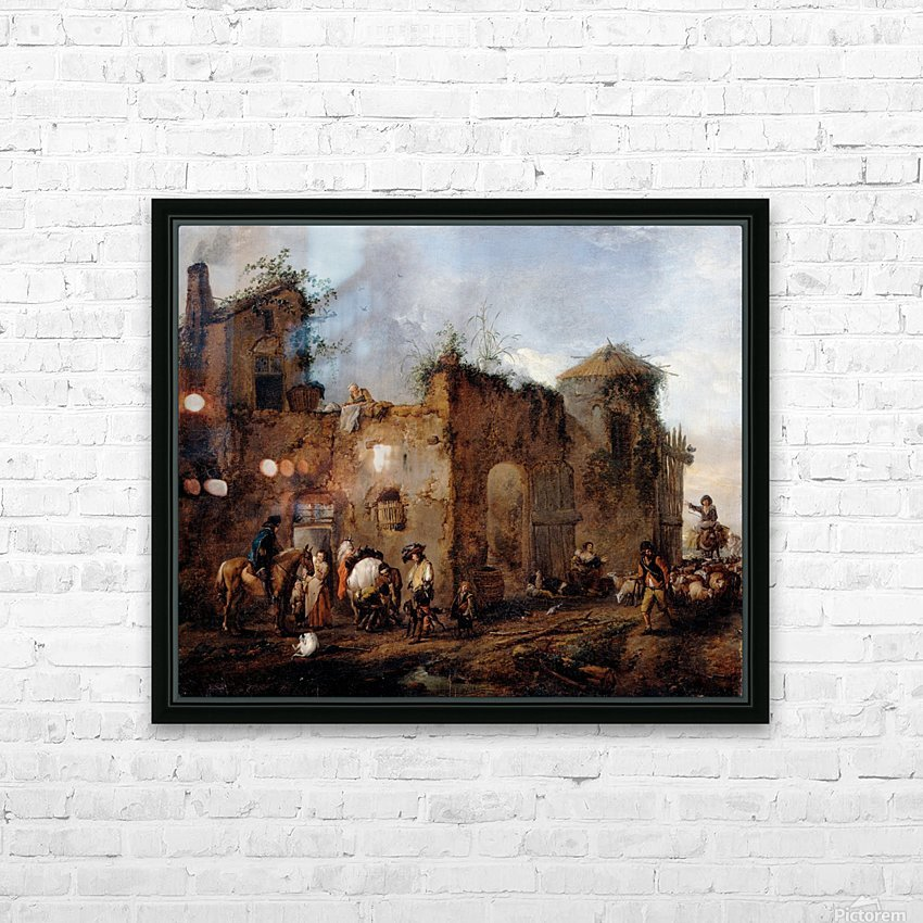 Courtyard with a Farrier shoeing a Horse HD Sublimation Metal print with Decorating Float Frame (BOX)