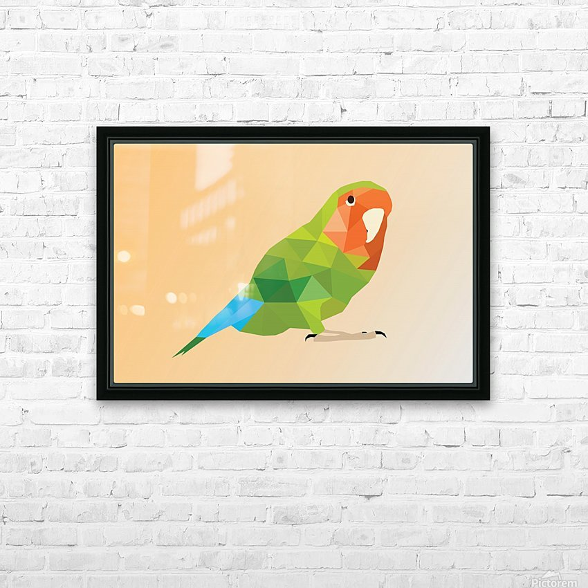 Parrot LOW POLY ART  HD Sublimation Metal print with Decorating Float Frame (BOX)