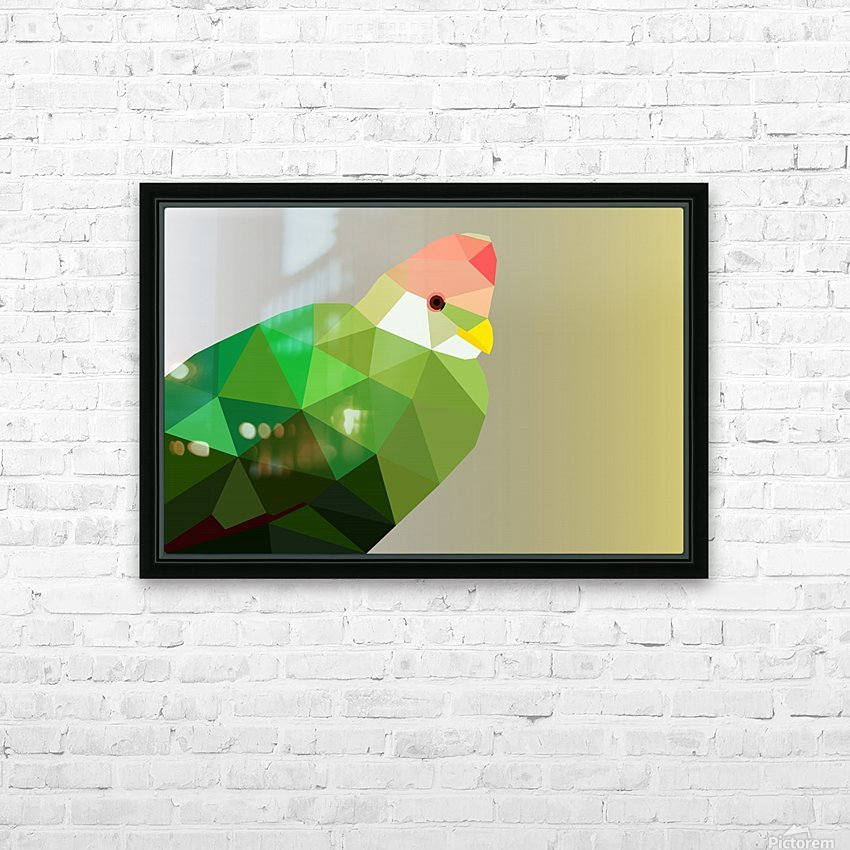 RED CRESTED TURACO LOW POLY ART HD Sublimation Metal print with Decorating Float Frame (BOX)