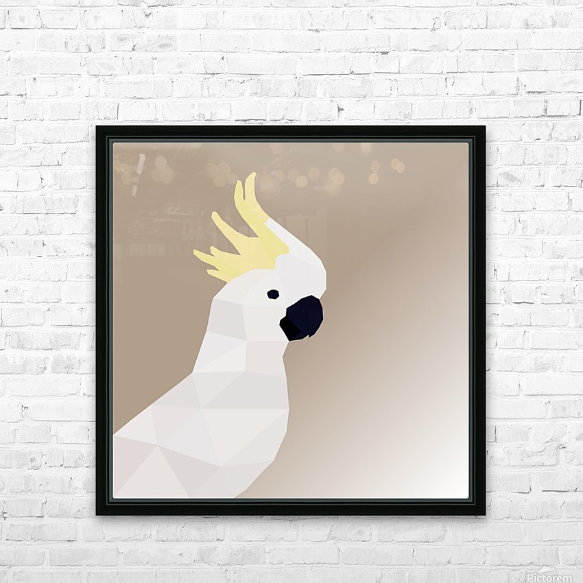 COCKATOO BIRD LOW POLY ART HD Sublimation Metal print with Decorating Float Frame (BOX)