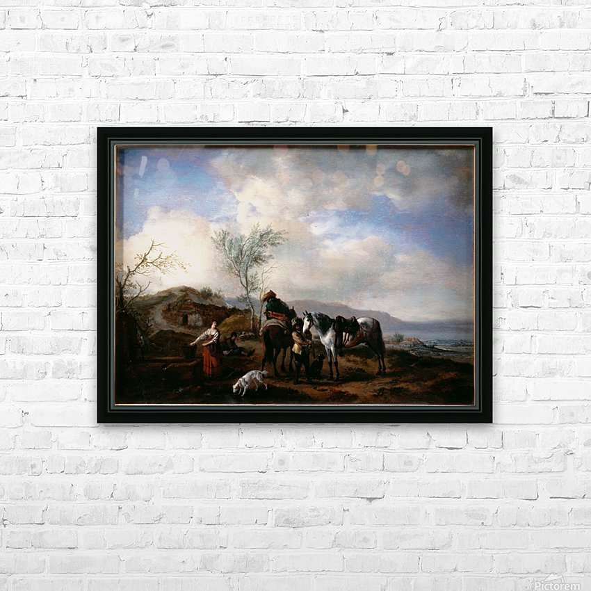 Two Horsemen near a Fountain HD Sublimation Metal print with Decorating Float Frame (BOX)