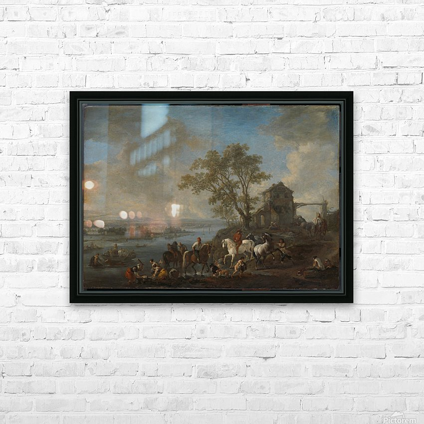 Paardenwed bij een rivier HD Sublimation Metal print with Decorating Float Frame (BOX)