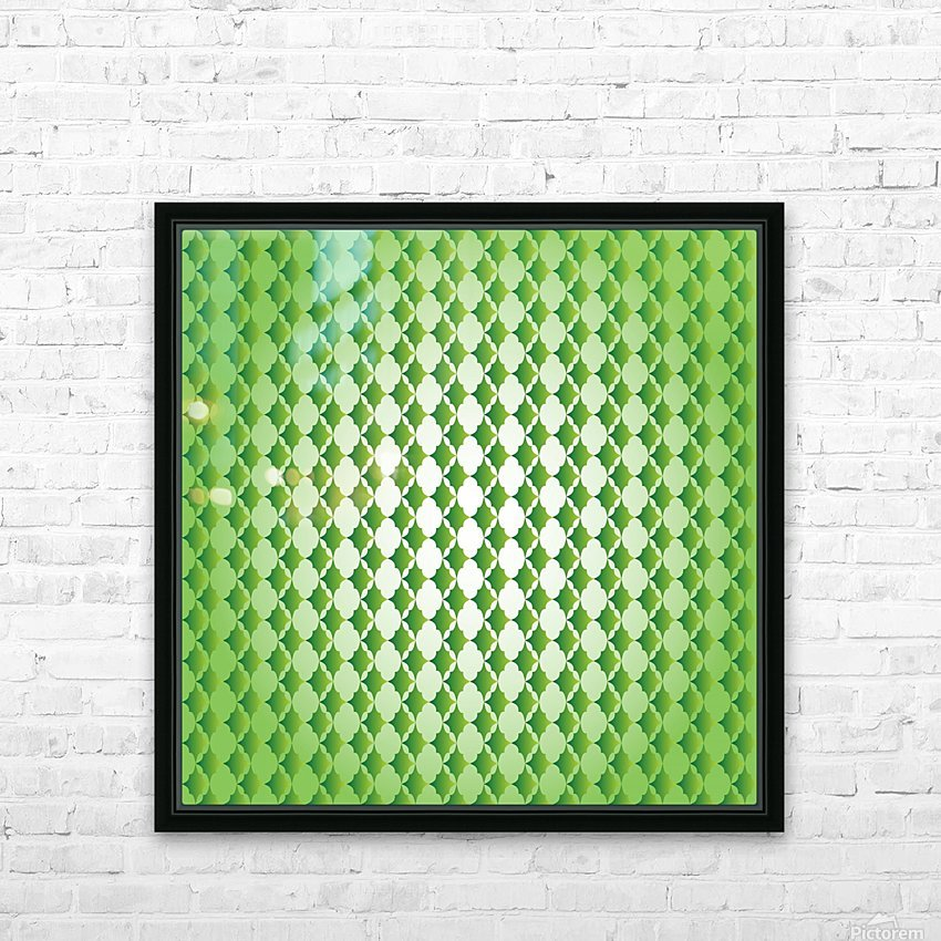 Islamic Art Green Color Artwork HD Sublimation Metal print with Decorating Float Frame (BOX)