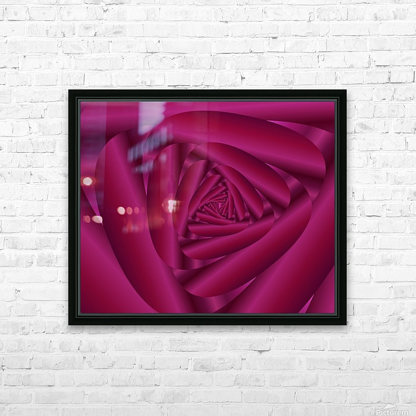Pink Color Rose Swirl Art HD Sublimation Metal print with Decorating Float Frame (BOX)
