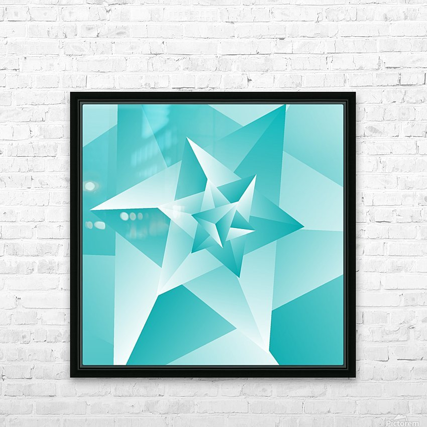 Bluish Trendy Triangle Art HD Sublimation Metal print with Decorating Float Frame (BOX)