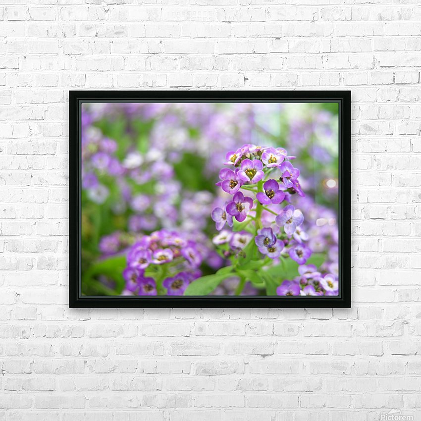 Beautiful Small Purple Flowers Photograph HD Sublimation Metal print with Decorating Float Frame (BOX)