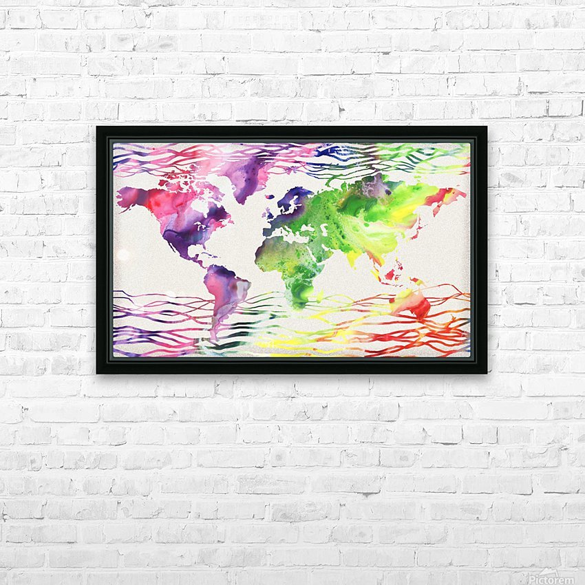 Colorful Wave Of Watercolour World Map HD Sublimation Metal print with Decorating Float Frame (BOX)