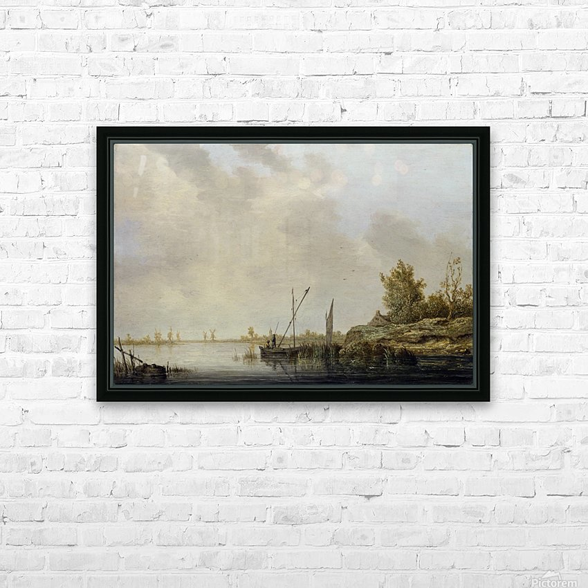 A River Scene with Distant Windmills HD Sublimation Metal print with Decorating Float Frame (BOX)