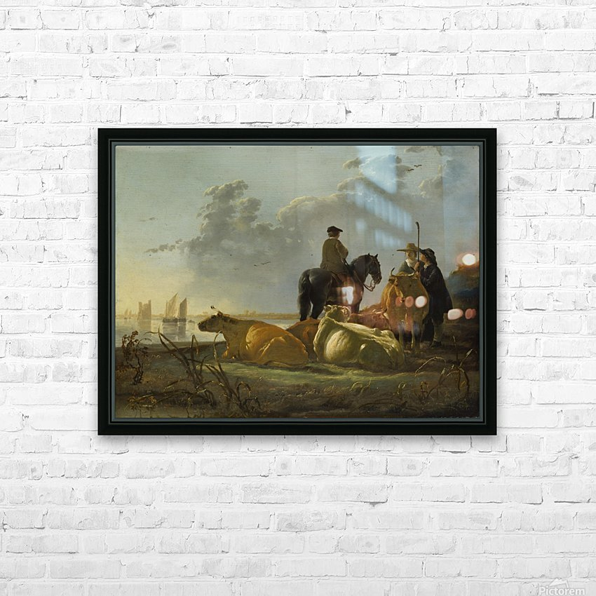 Peasants and Cattle by the River Merwede HD Sublimation Metal print with Decorating Float Frame (BOX)