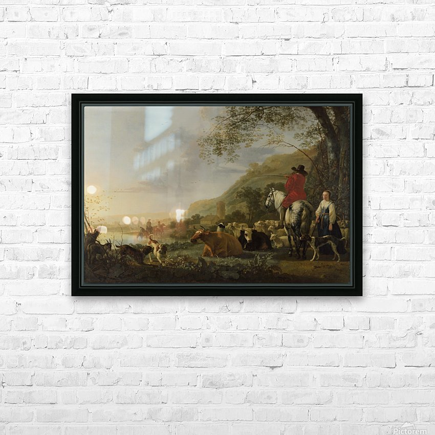A Hilly Landscape with Figures HD Sublimation Metal print with Decorating Float Frame (BOX)