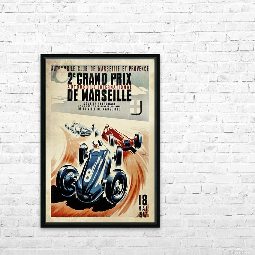 Marseille 2nd Grand Prix Automobile International 1947 HD Sublimation Metal print with Decorating Float Frame (BOX)