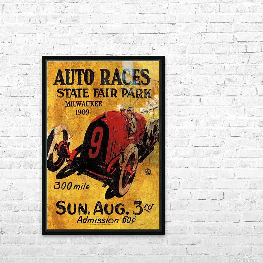 Milwaukee 300 Mile Auto Races State Fair Park 1909 HD sublimation métal imprimé avec décoration flotteur cadre (boîte)