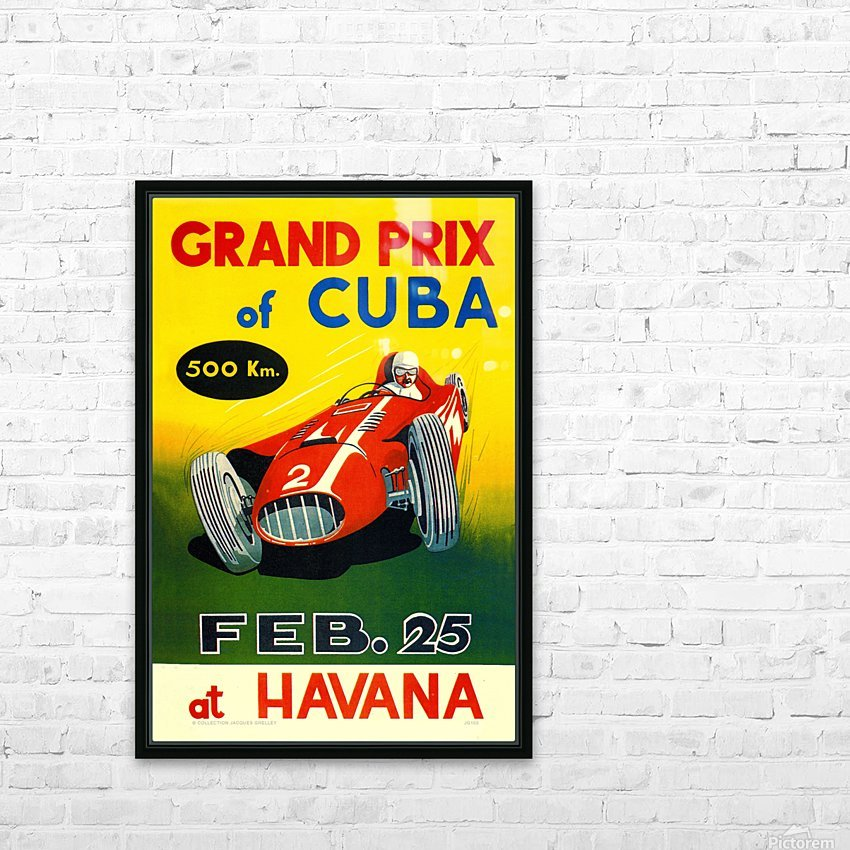 Cuba Grand Prix Havana 1958 HD Sublimation Metal print with Decorating Float Frame (BOX)