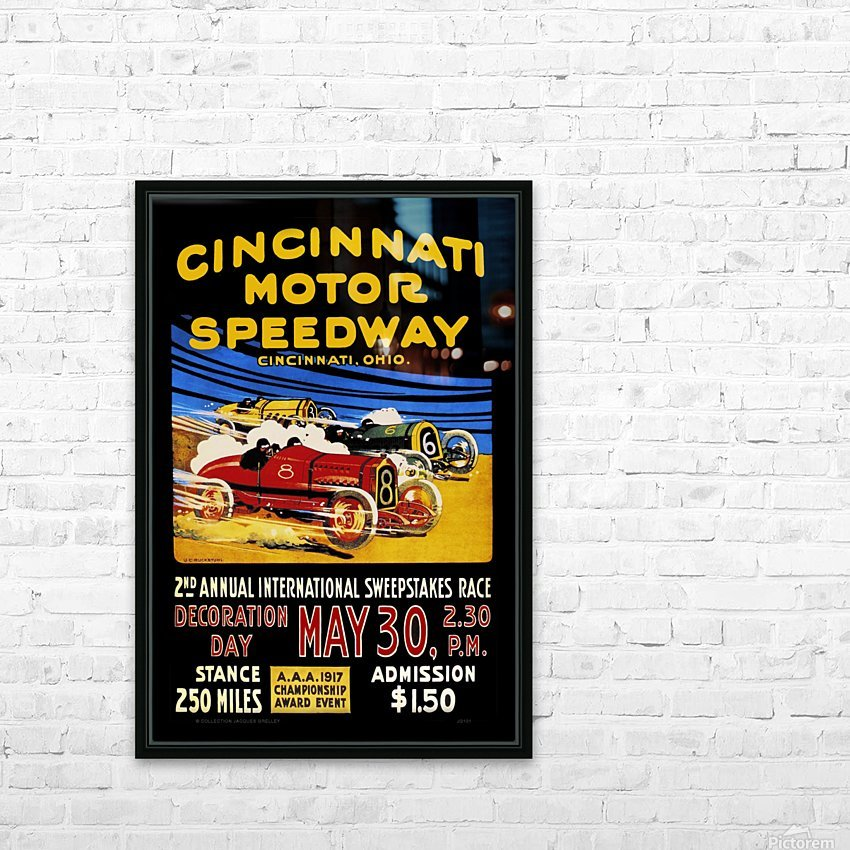 CincIInnati Motor Speedway 2nd Annual International Sweepstakes Race 1917 HD Sublimation Metal print with Decorating Float Frame (BOX)