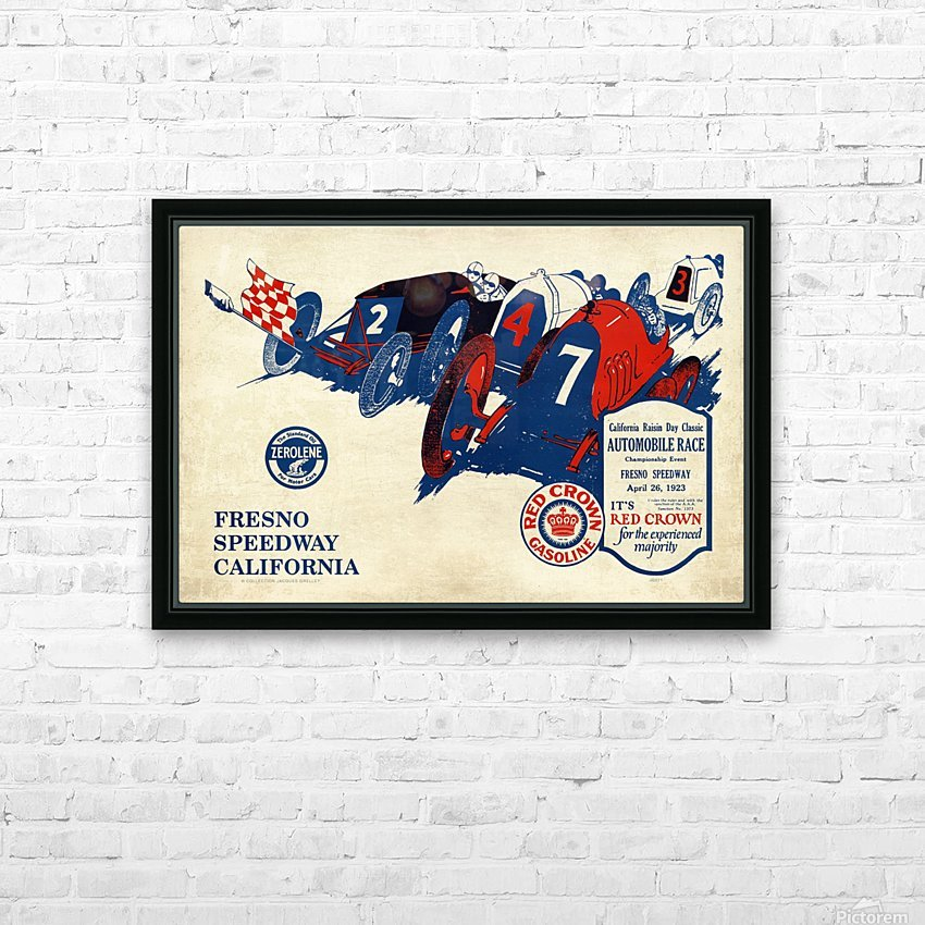 California Raisin Day Classic Automobile Race Championship Event Fresno Speedway 1923 HD Sublimation Metal print with Decorating Float Frame (BOX)