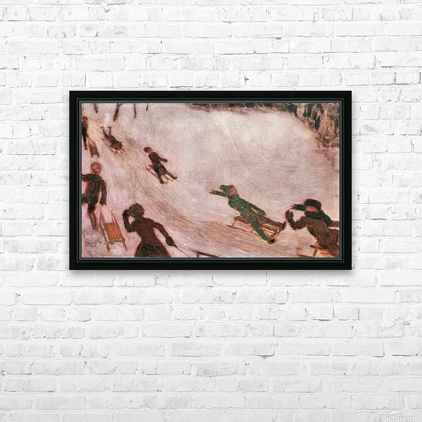 Children sledding by Franz von Stuck HD Sublimation Metal print with Decorating Float Frame (BOX)