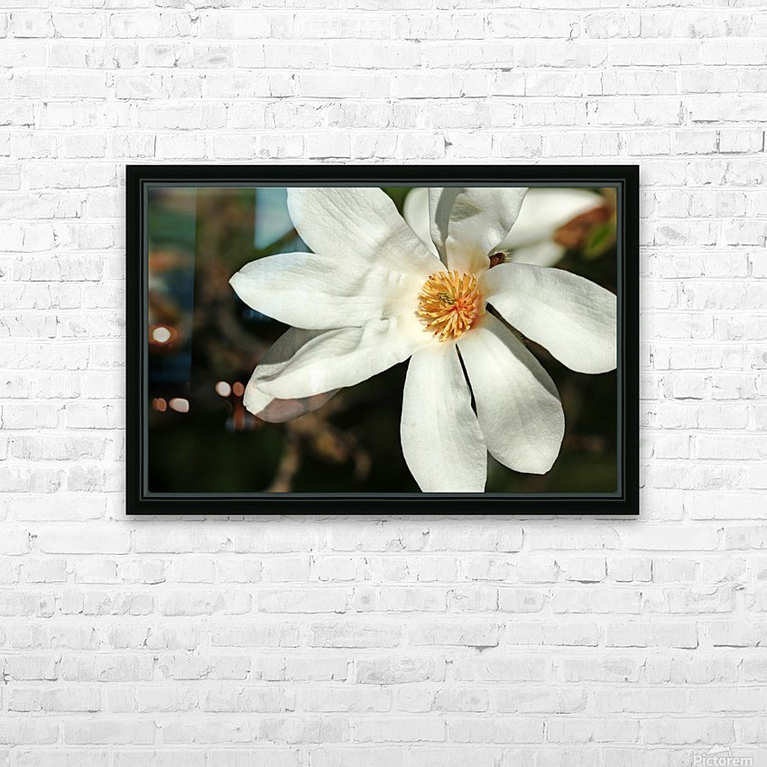 White Magnolia HD Sublimation Metal print with Decorating Float Frame (BOX)