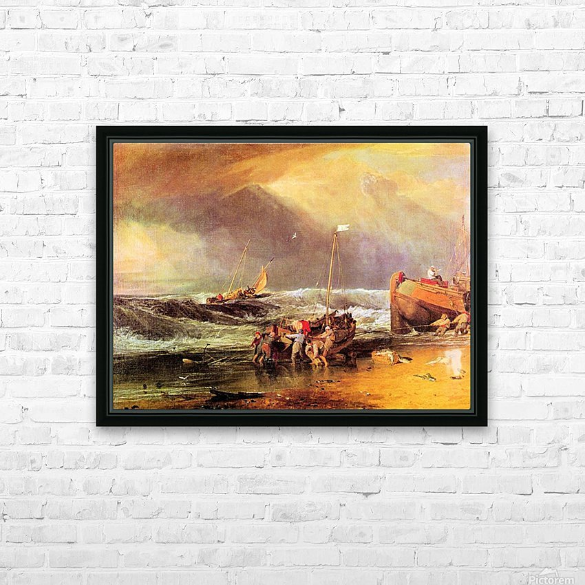 Coastal scene with fishermen by Joseph Mallord Turner HD Sublimation Metal print with Decorating Float Frame (BOX)