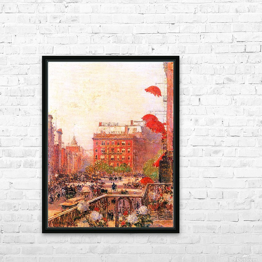 Broadway and Fifth Avenue by Hassam HD Sublimation Metal print with Decorating Float Frame (BOX)