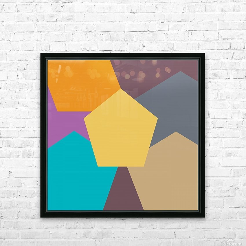 COLORFUL HEXAGON Pattern HD Sublimation Metal print with Decorating Float Frame (BOX)