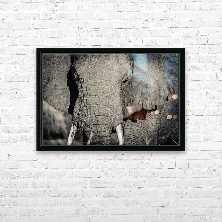 Elephant Portrait HD Sublimation Metal print with Decorating Float Frame (BOX)