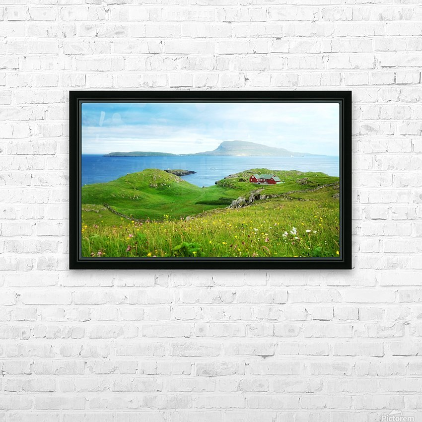 Faroe green field HD Sublimation Metal print with Decorating Float Frame (BOX)