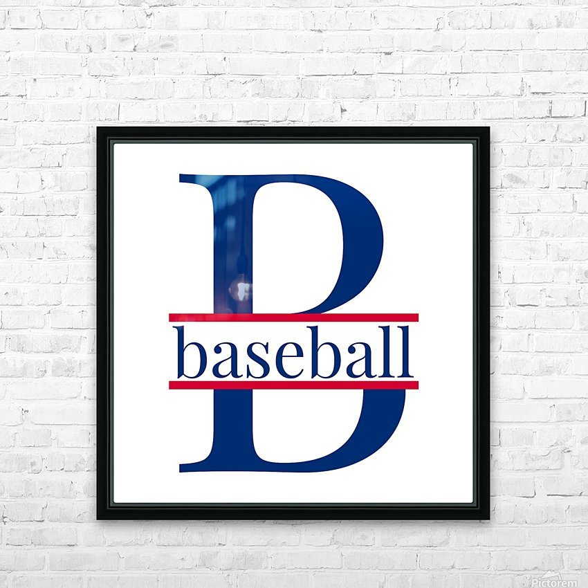 B is for Baseball  HD Sublimation Metal print with Decorating Float Frame (BOX)