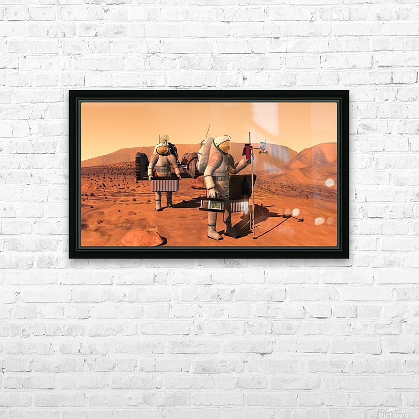 Artists concept of astronauts setting up weather monitoring equipment on Mars. HD Sublimation Metal print with Decorating Float Frame (BOX)