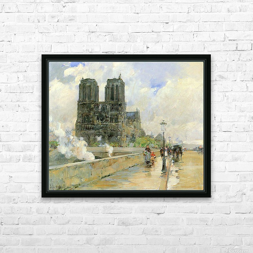 Cathedral of Notre Dame, 1888 by Hassam HD Sublimation Metal print with Decorating Float Frame (BOX)