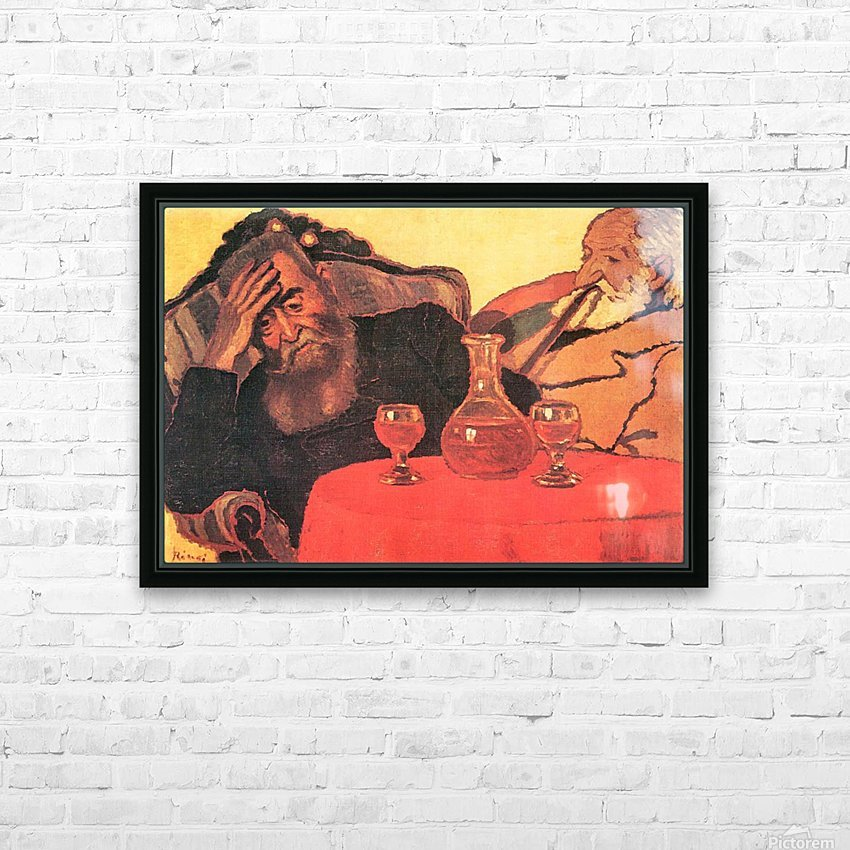 Father and uncle with the red wine  by Joseph Rippl-Ronai HD Sublimation Metal print with Decorating Float Frame (BOX)