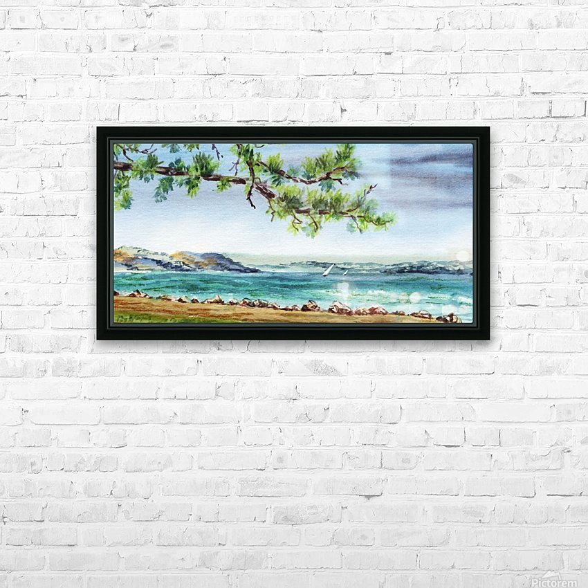 Sea Shore Beach House View Watercolor HD Sublimation Metal print with Decorating Float Frame (BOX)