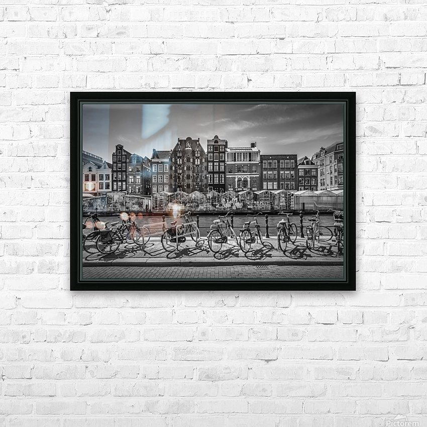 AMSTERDAM Singel Canal with Flower Market | monochrome HD Sublimation Metal print with Decorating Float Frame (BOX)