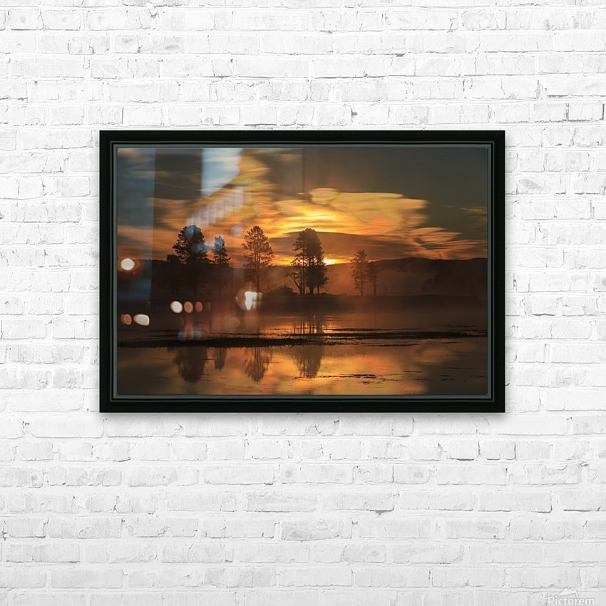 Northern Lights in Yellowstone HD Sublimation Metal print with Decorating Float Frame (BOX)