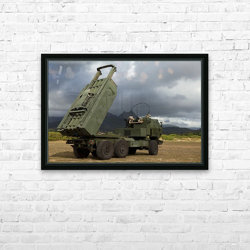 A M142 High Mobility Artillery Rocket System. HD Sublimation Metal print with Decorating Float Frame (BOX)